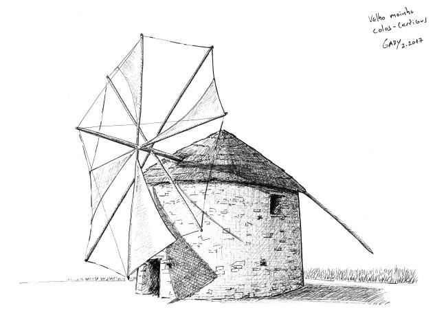 Ilustração do moinho de vento dos Colos- Cardigos