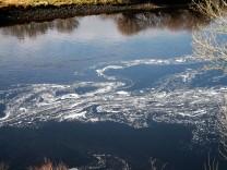 Após abrirem as comportas começou a surgir espuma e sujidade na água.