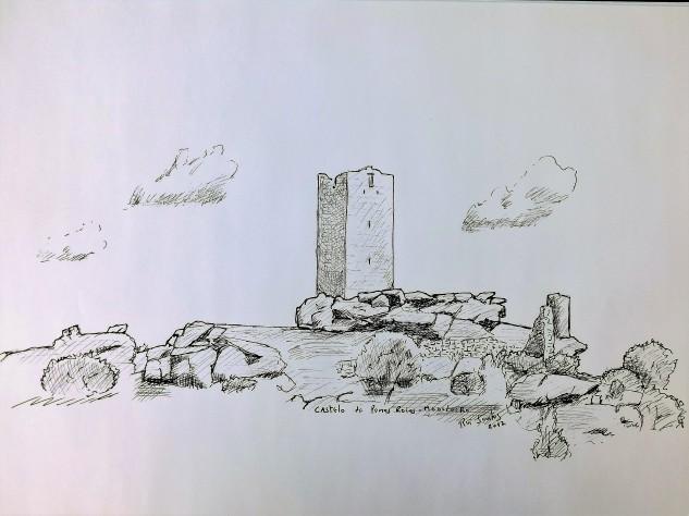 As ruínas do castelo de Penas Roias num pequeno rabisco que fiz.