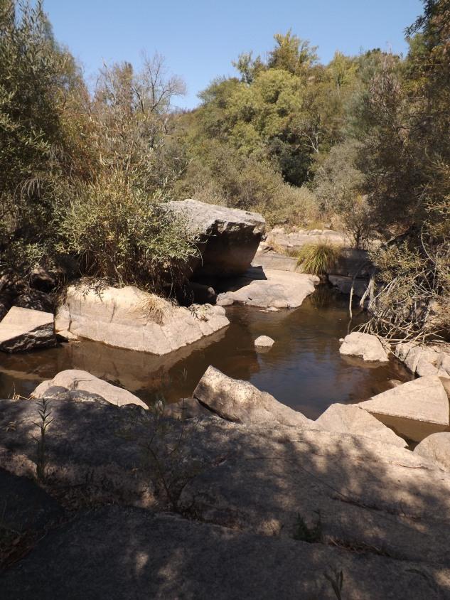 Com pouca água sempre é possível andar pelo leito da ribeira saltando de pedra em pedra.