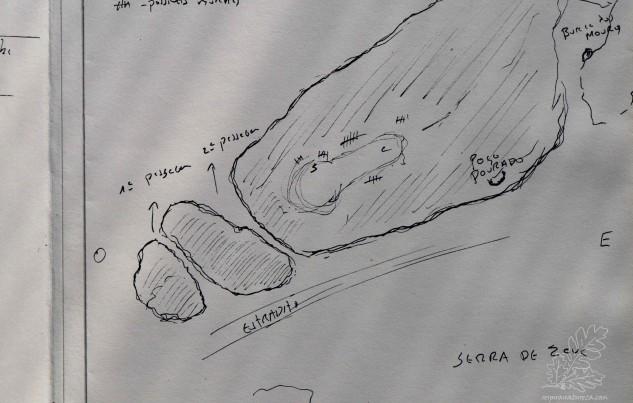 Esquema da zona mais sudoeste da serra de Zava.