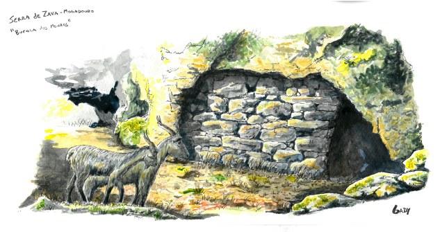Ilustração da Buraca dos Mouros na Serra de Zava. Gady