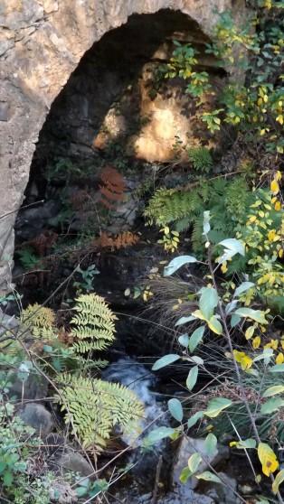 Uma velha ponte atravessa a ribeira do Castelo que nasce no sopé do Bando dos Santos.